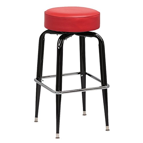(Royal Industries Backless Square Black Frame Red Vinyl Bar Stool With Single Chrome Ring)