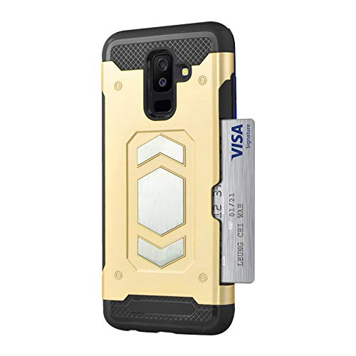Double Gradient Gold Mirror - Card Holder Case for Galaxy A6, Magnetic Dual Layer Military Grade Duty Phone Case Armor Series Car Mount for Galaxy A6 Plus (Samsung Galaxy A6 2018, Gold)