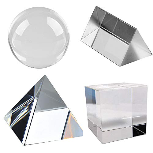 Amlong Crystal K9 Optical Crystal Photography Prism Set of 4 Pieces, 50mm Crystal Ball, 50mm Cube, 60mm Prism, 60mm Pyramid