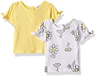 Flapdoodles Baby 2 Pack Girls Tee's with Printed and Solid T-Shirt, Yellow, 18 Months
