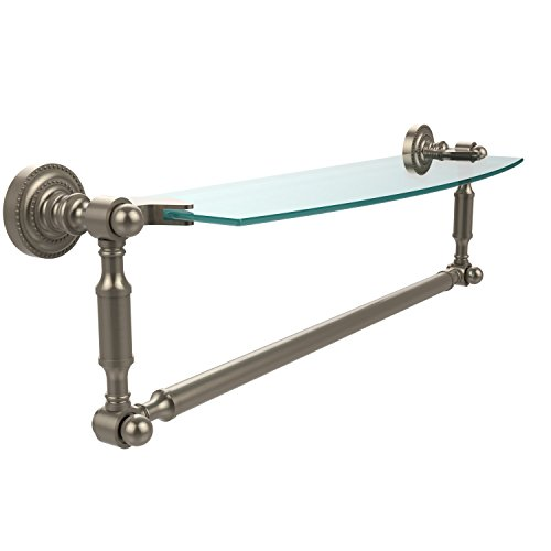Allied Brass DT-33TB/18-PEW Glass Shelf with Towel Bar, 18-Inch x 5-Inch, Antique Pewter