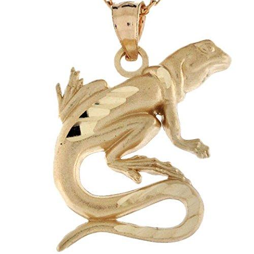 Jewelry Liquidation 10k Real Gold Lizard Salamander Reptile Diamond Cut Charm Pendant