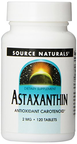 Source Naturals Astaxanthin 2mg High Potency, 100% Pure Algae Extract, Antioxidant Carotenoid Supplement - Powerful Anti-Inflammatory & Support For Skin, Joint, Eye & Immune Health - 120 (Algae Extract Natural)