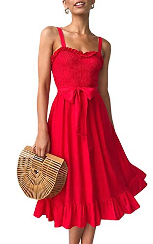 Angashion Women's Dresses - Summer Boho Floral Spaghetti Strap Belt Swing A line Midi Dress 119 Red M
