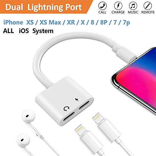 Lighting Splitter Adapter ebasy 2-in-1 Dual Lighting Headphone Audio and Charge Adapter,Compatible Phone 7/8 / X /7 Plus /8 Plus / XS / XR / MAX.(Compatible iOS 11, iOS 12)-White