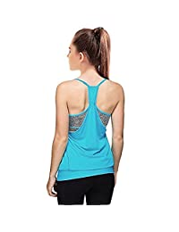 Womens 2 in 1 Workout Yoga Open Side Sports Racerback Tank Tops with Built in Bra