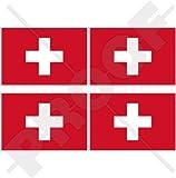 """SWITZERLAND Swiss Flag Suisse, Schweiz 2"""" (50mm) Vinyl Bumper-Helmet Stickers, Decals x4"""