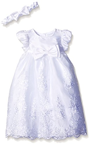 Hem Dress Band (Picture Perfect Girls' Baby Organza Scallop Hem Christening Dress with Headband, White, 3-6 Months)