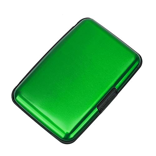 Elfish RFID Blocking Credit Card Protector Aluminum ID Case Hard Shell Business Card Holders Metal Wallet for Men or Women (Green)
