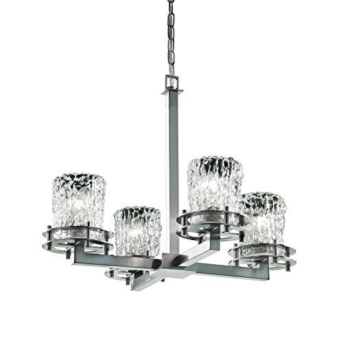(Justice Design Group Lighting GLA-8200-16-CLRT-NCKL Veneto Luce 4-Light Chandelier, 19