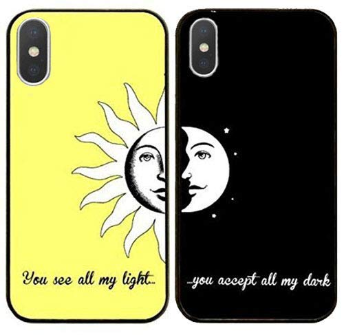 DECO FAIRY Compatible With iPhone X / Xs, Cartoon Anime Animated BFF Best Friends Forever Lover You Are My Sun and Moon Series PVC Hard Case - Set Of Two, Black Yellow (Ying Animated Yang)