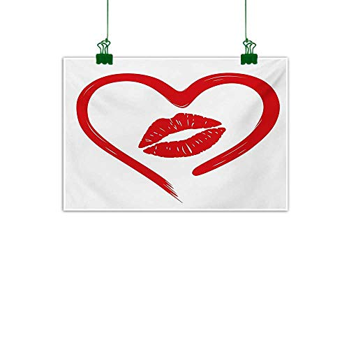 - Unpremoon Kiss,Mural Heart Drawn in Lipstick and Woman Lip Imprint Romance Passion and Tenderness Message Bathroom Wall Decor Red White W 36