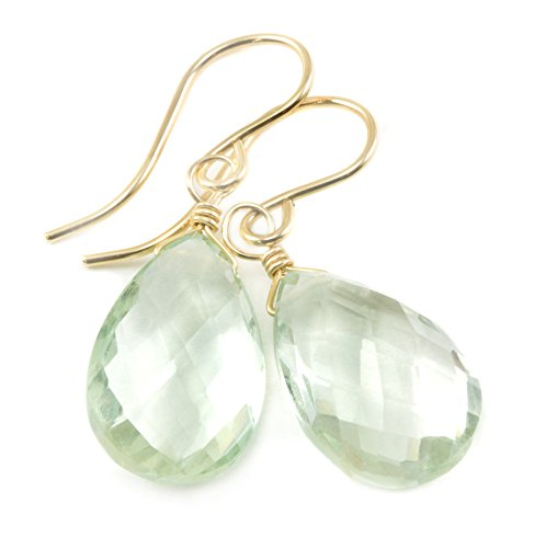 Prasiolite Earrings Soft Pale Green Faceted Cut Teardrops Simple Dangles