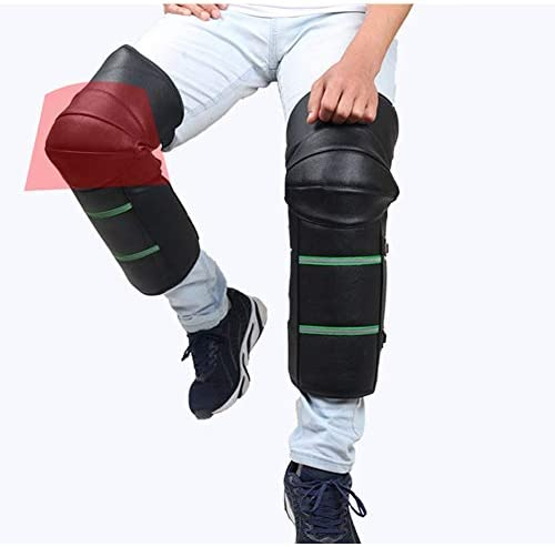 EUGNN 1 Pair Riding Leather Wool Knee Pads,Adjustable Strap Warm Leggings Covers,Unisex Half Chaps Wool Motorcycle Protector Guard for Riding Cycling Skating