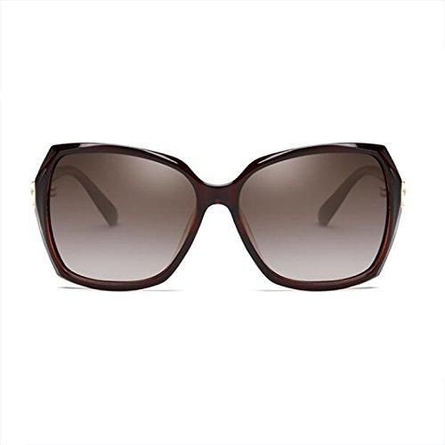 Cara WLHW cuadradas Bright sol Big Elegante larga black Marrón Resina de Glasses de Face UV Color Gafas femeninas Cara de Polarizer redonda protección sol Gafas rHWqBZRr