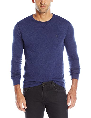 Original Penguin Men's Reversible Solid and Stripe Long Sleeve Shirt, Medieval Blue, XX-Large