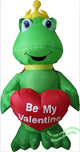 Valentines Inflatable 4' Frog Prince Holding Be My Valentine Heart Airblown Holiday Decoration