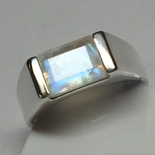 Natural Emerald Cut Rainbow Moonstone 925 Solid Sterling Silver Men's Ring sz 7, 8.5, 9, 9.5, 9.75, 10, 11.75, 12, 13