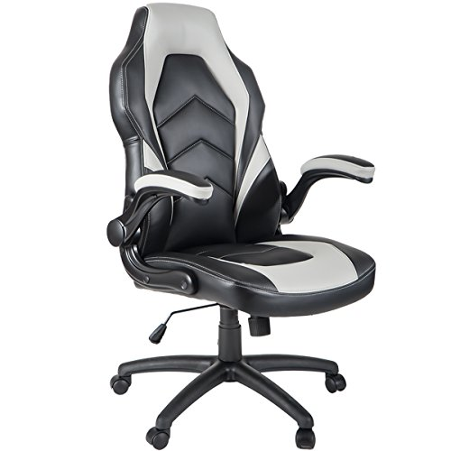 ModernLuxe Ergonomic High Back Racing Style PU Leather Gaming Chair with Flipped Armrests (Grey) HL