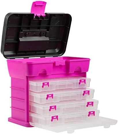 The Original Pink Box Portable Organizer, 4 Compartment, Bonus Lid Storage, Pink