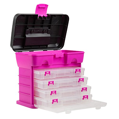 The original pink box portable organizer 4 compartment for Craft storage boxes with lids