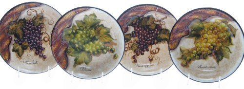 Certified International Wine Cellar 9-Inch Pasta/Soup Bowl, Set of 4 Assorted Designs by Certified International