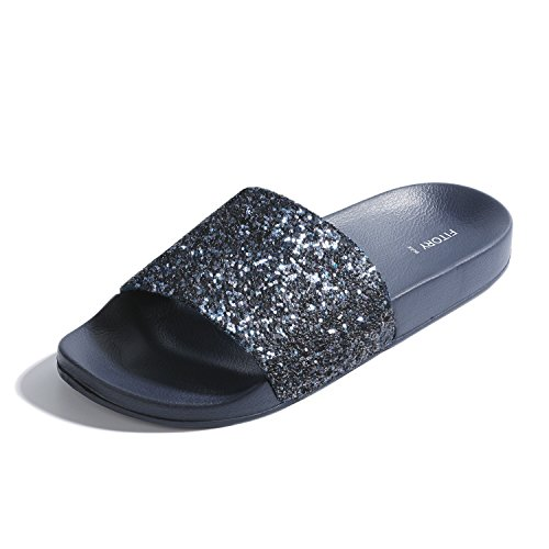 Glitter Sandals (FITORY Women Slides, Sparkly Glitter Arch Support Slippers with Bling Slip on Flats Sandals for Summer)
