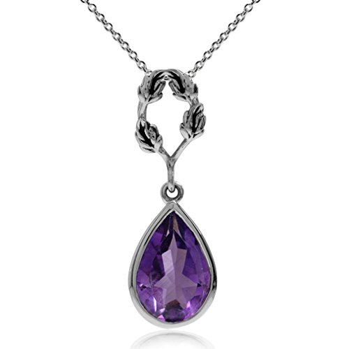 Silvershake 2.07ct. Natural African Amethyst 925 Sterling Silver Leaf Drop Pendant w/18 Inch Chain Necklace ()