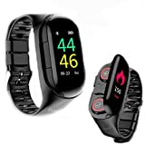 M2 Smartwatch Bluetooth Wireless Earbuds 2 in 1 Sport Activity Trackers Touch Screen Health Fitness Smart Bracelet Heart Rate Blood Pressure Monitor Compatible iOS Android for Women Men