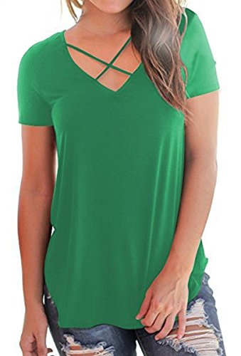 Mysmantic T Shirts for Women V-Neck Plain Short Sleeve Casual Cotton Tees Green (Green Womens V-neck T-shirt)