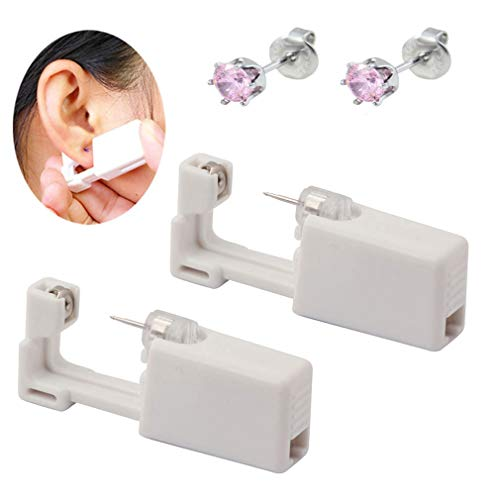 (MING HUANG 2 Pcs Disposable Sterile Ear Nose Piercing Kit Tool Stud Safety Portable Ear Piercing Kit 2 Unit (515))