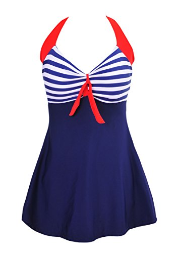 AooToo Vintage Sailor Straps Halter Pin Up One Piece Swimsuit Cover Up Swimdress(Blue Stripe, US Size - Made One Custom Swimsuit Piece