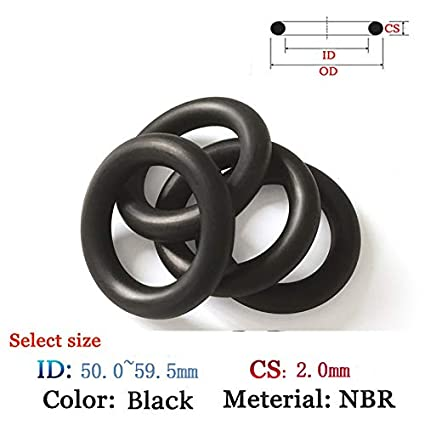Gimax Plastic O-Ring NBR Gasket CS 2.0mm ID50.0-59.5mm Rubber for Oil and Waterproof Seal Film Viton Gasket Silicone Black Ring Seal Size: ID-56.0mm, Color: 10pcs, Thickness: CS-2.0mm