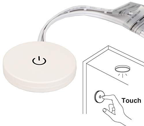 Facon Panel Touch Dimmer Switch with 3M Self-adhesive, 12Volt / 24Volt DC, Use with LED lights, Incandescent and Halogen Bulbs for RV, Camper, Marine, and Strip Lights ()