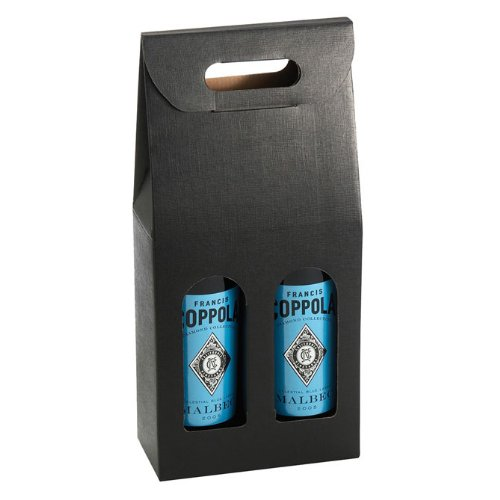 Italian Wine Boxes - Bottle Carrier (Black Double - Qty 10)