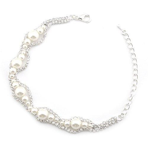 Faux Silver Bracelet (Topwholesalejewel Wedding Bracelet Silver Plating Faux Pearl Link Bracelet)