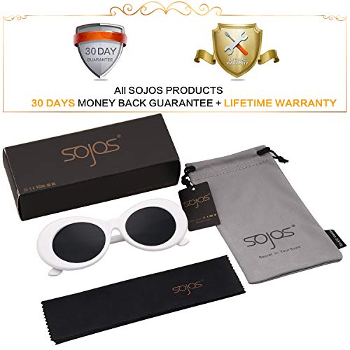 Gris Style Marco Lentes Blanco De SJ2039 Sol SOJOS Cobain Oval Retro Kurt Sunglasses Mod Grueso BA6wYqX