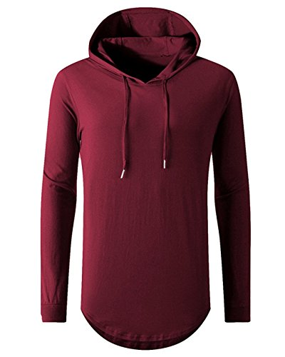 (Aiyino Mens Hipster Hip Hop Long Sleeve Longline Pullover Hoodies Shirts L-L-Wine Red)