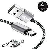 USB Type C Cable, USB C Cable 4Pack with 2 Micro USB to USB C Adapter 1ft 3ft 6ft Braided USB C to USB A Charger Fast Charging Syncing Cords Compatible Samsung Galaxy S9 S8,Google Pixel,LG V20-Black