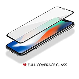 iCarez [Full Coverage Tempered Glass Screen Protector for iPhone X iPhone Xs 5.8-Inch (Case Friendly) Easy Install [2 Pack 0.3MM 9H 2.5D] with Lifetime Replacement Warranty