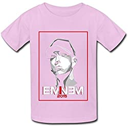 ZIYUAN Kid's Vintage Eminem 2015 Tour T-shirts M Pink