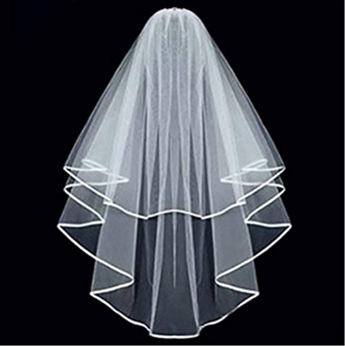 ZiYan White Double Ribbon Edge Center Cascade Bridal Wedding Veil with Comb