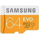 Samsung Memory 64GB Evo MicroSDXC UHS-I Grade 1 Class 10 Memory Card without Adapter - Orange/White