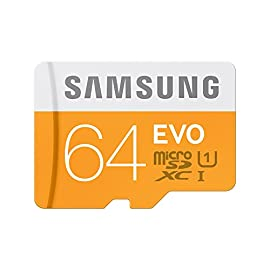 Samsung Memory 64GB Evo MicroSDXC UHS-I Grade 1 Class 10 Memory Card without Adapter 1 Samsung 64GB, MicroSDXC EVO, 64 Go, Micro Secure Digital Extended Capacity (MicroSDXC), 48 Mo/s, Orange, Blanc, Water resistant, -25 - 85 C