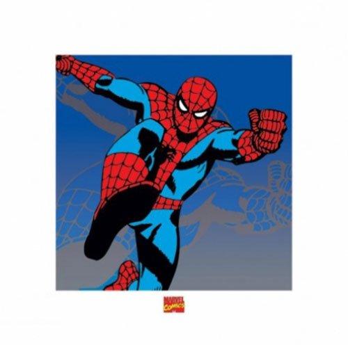 The Amazingスパイダーマン – フレーム付きレトロスタイルコミックアートプリント/ポスター( Attack ) (サイズ: 16