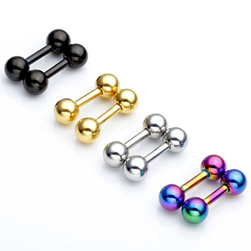 Tongue Barbell 14 Gauge (Zysta 8pcs Mix Color 14G Stainless Steel Straight Barbell 1/4