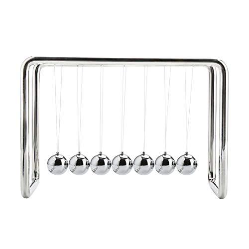 BOJIN Newtons Cradle Balance 7 Balls Science Psychology Puzzle Desk Fun Gadget - Large