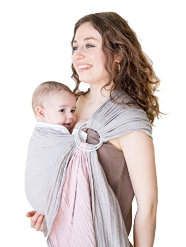 Baby Wrap Carrier Ring Sling-Baby Carrier-Extra Soft Turkish Cotton Muslin Baby Slings Baby Shower Gift Grey&Rose ()