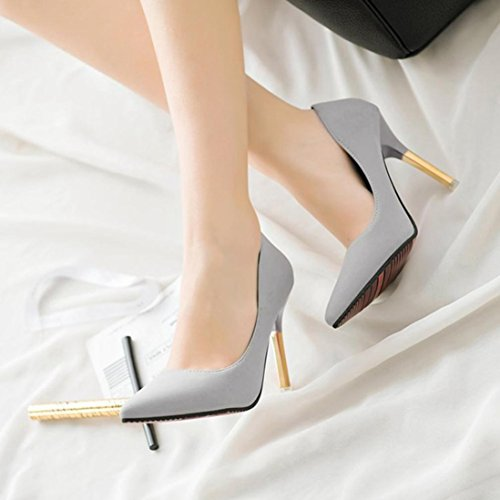 Saihui Sexy Spring Stiletto Shoes, Women's Fashion Shallow Pointed Toe Court Heels Shoes Gray