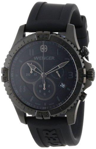 Strap Rubber Chrono (Wenger Men's 77054 Squadron Chrono All-Black Rubber Strap Watch)